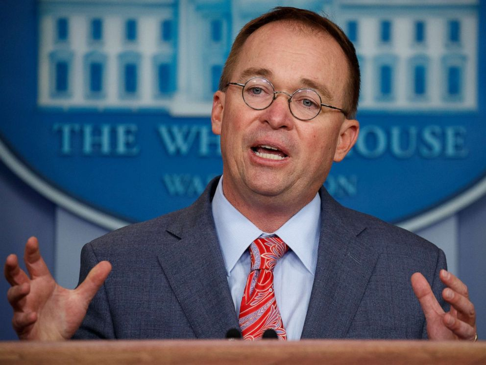 PHOTO: Mick Mulvaney speaks in the White House briefing room in Washington, Oct. 17, 2019.