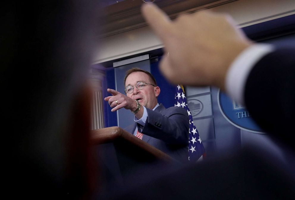 PHOTO: Acting White House Chief of Staff Mick Mulvaney answers questions during a briefing at the White House on Oct. 17, 2019 in Washington, D.C.