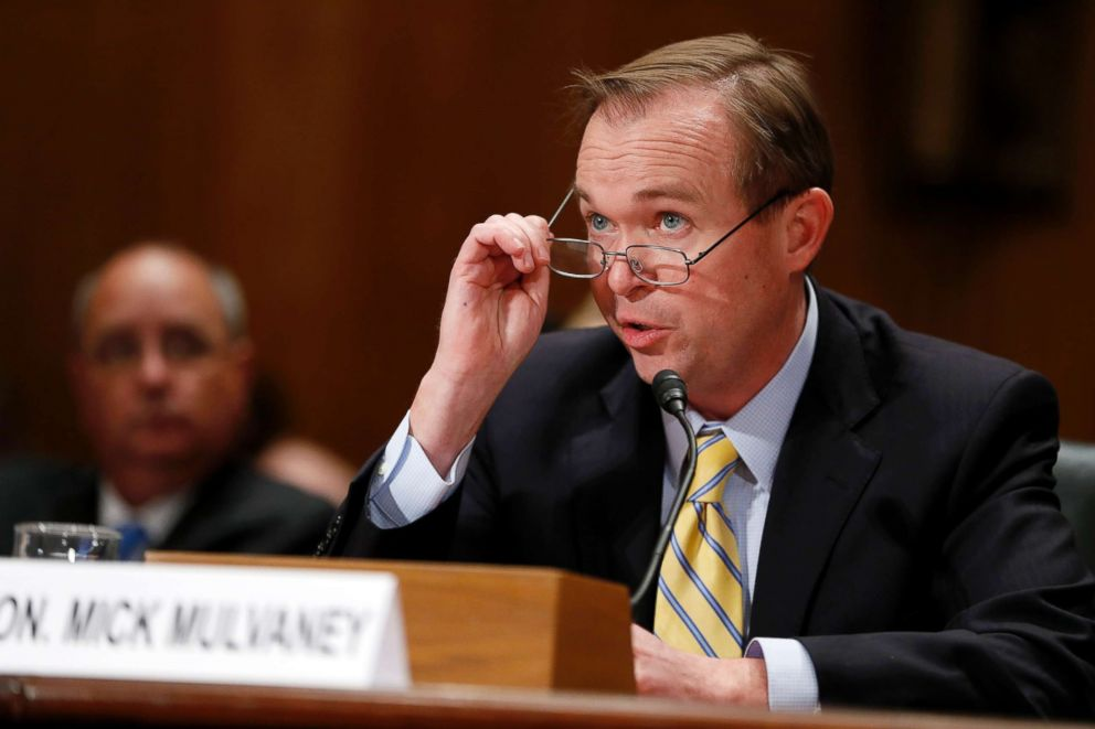 PHOTO: Representative Mick Mulvaney, Office of Management and Budget director nominee testifies during a Senate Governmental Affairs Committee confirmation hearing in Washington, D.C., on Jan. 24, 2017.