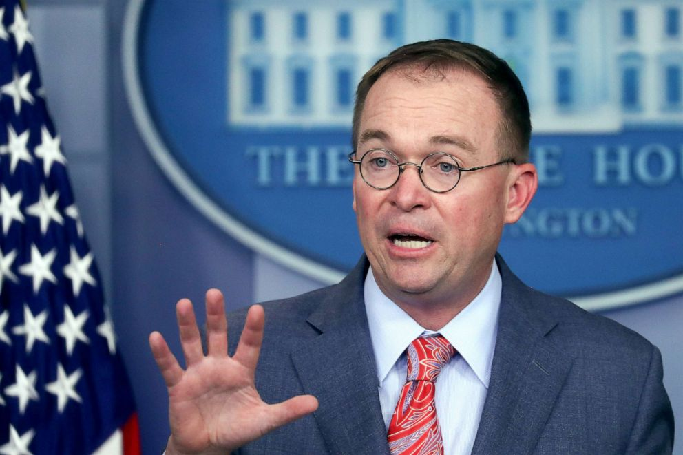PHOTO: Acting White House Chief of Staff Mick Mulvaney addresses reporters during a news briefing at the White House in Washington, Oct. 17, 2019.