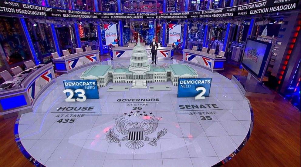 PHOTO: ABC News designed a custom set that uses augmented reality for Midterm election coverage.