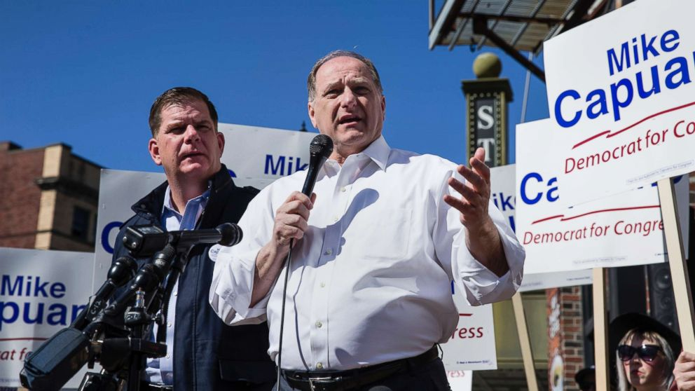 Congressman Mike Capuano, right, speaks after being endorsed for re-election by Boston Mayor Martin J. Walsh, left, in Boston on April 22, 2018.