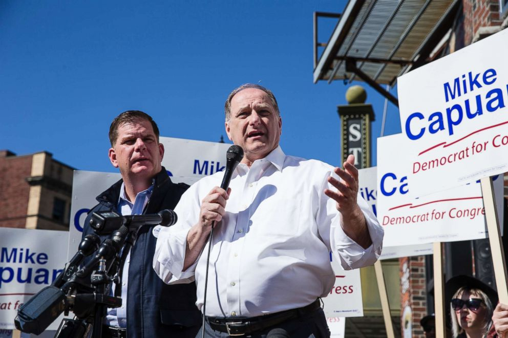 PHOTO: Congressman Mike Capuano speaks after being endorsed for re-election by Boston Mayor Martin J. Walsh, left, in Boston on April 22, 2018.