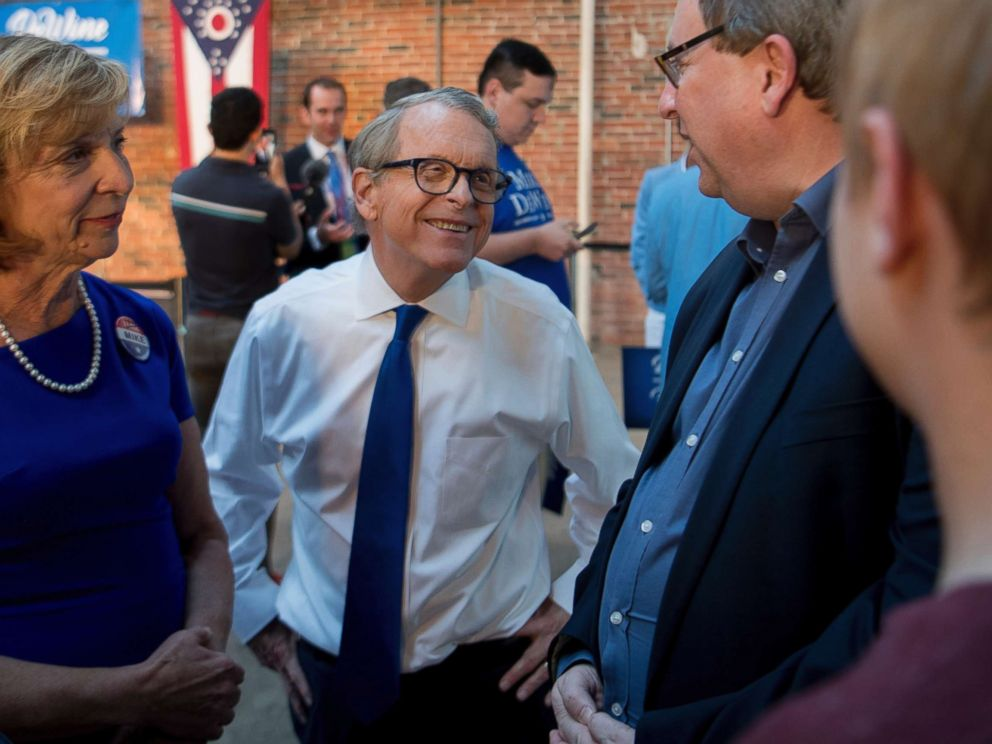 PHOTO: Ohio Attorney General and Republican gubernatorial candidate Mike DeWine greets supporters at a primary election night event, May 8, 2018, in Columbus, Ohio.