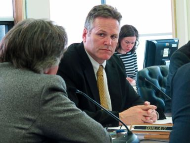 PHOTO: In this, May 17, 2016, file photo Alaska state Sen. Mike Dunleavy listens during a Senate Finance Committee meeting, in Juneau, Alaska.