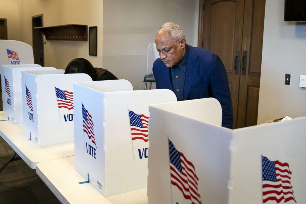 PHOTO: Democratic candidate for U.S. Senate Mike Espy votes at a polling place at Highland Colony Baptist Church, Nov. 27, 2018, in Ridgeland, Mississippi.