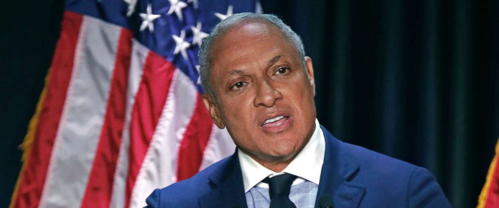PHOTO: Democrat Mike Espy answers a question during a televised debate with his opponent appointed Sen. Cindy Hyde-Smith, in Jackson, Miss., Nov. 20, 2018.