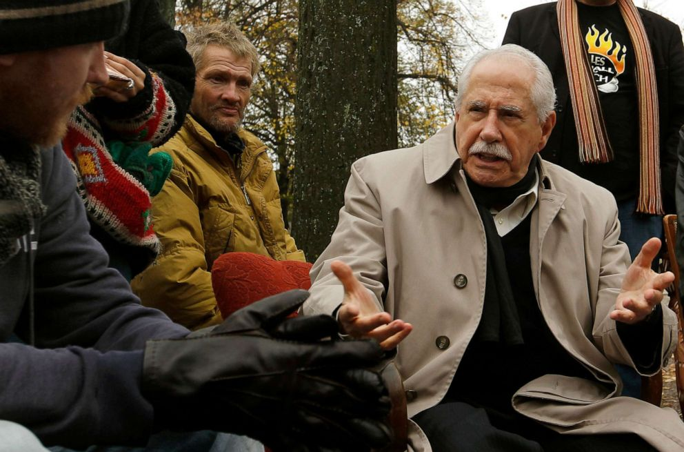PHOTO: Former U.S. senator Mike Gravel talks to demonstrators at their camp at the Lindenplatz square in Zurich, Oct. 31, 2011.