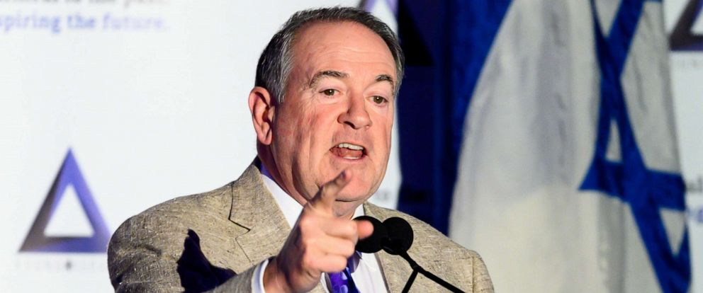 PHOTO: Former Arkansas Governor Mike Huckabee speaks at the National Council of Young Israel Gala in New York City, March, 31, 2019.
