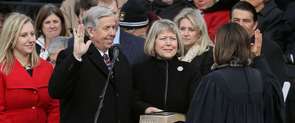 PHOTO: Mike Parson is sworn in as Missouri Lieutenant Governor during inauguration ceremonies in Jefferson City, Jan. 9, 2017.