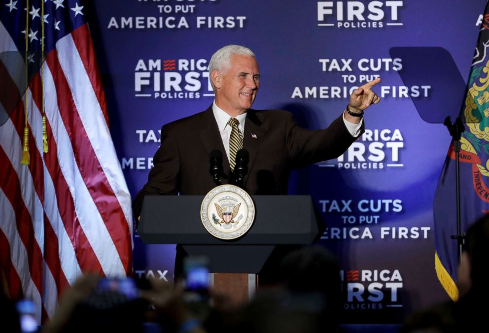 PHOTO: Vice President Mike Pence speaks at an America First Policies event in Philadelphia, July 23, 2018.