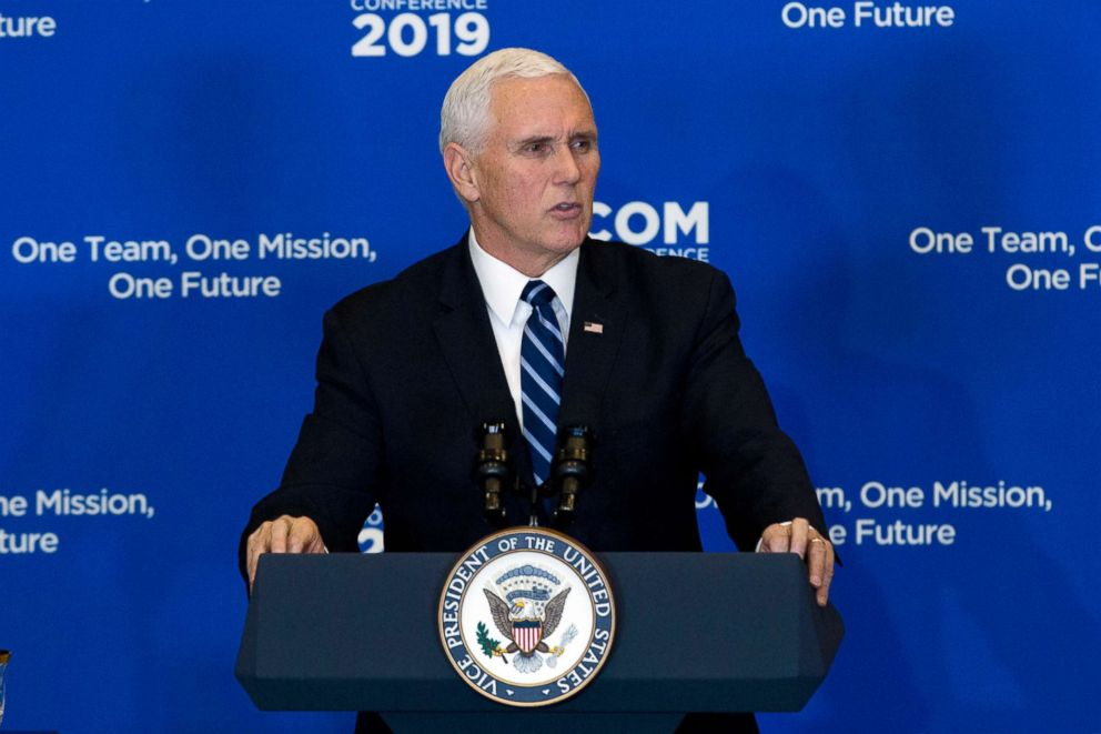 PHOTO: Vice President Mike Pence speaks during the Global Chiefs of Mission Conference One Team, One Mission, One Future at Department of State, Jan. 16, 2019, in Washington.