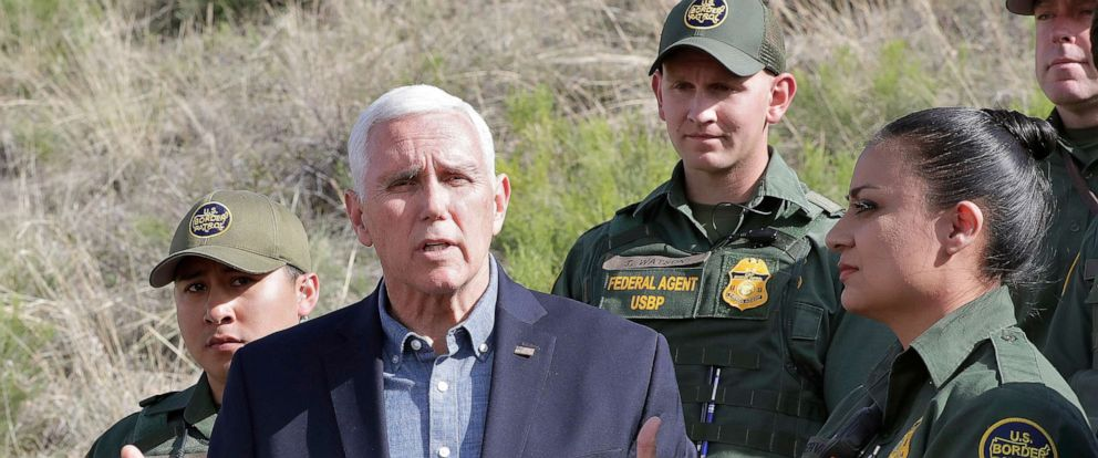 PHOTO: Vice President Mike Pence speaks along the International border while meeting with border patrol agents, April 11, 2019, in Nogales, Ariz.