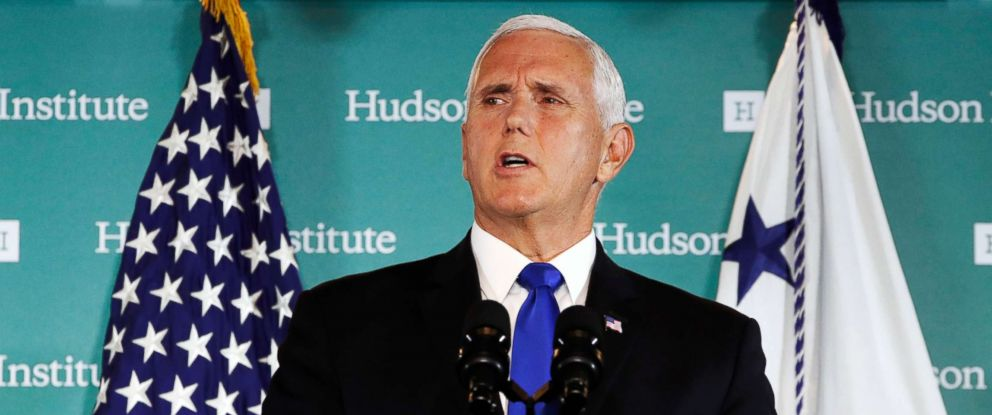 """PHOTO: Vice President Mike Pence speaks at the Hudson Institute in Washington, Oct. 4, 2018. Pence said China was using its power in """"more proactive and coercive ways to interfere in the domestic policies and politics of the United States."""""""