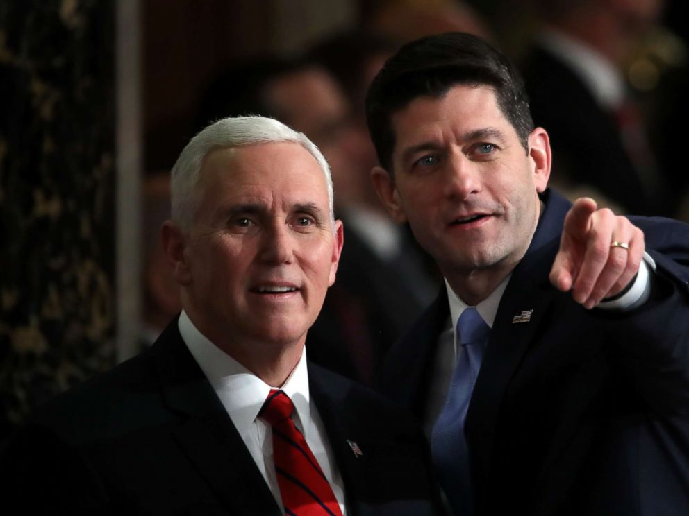 PHOTO: Vice President Mike Pence and Speaker of the House Rep. Paul Ryan attend the State of the Union address in the chamber of the U.S. House of Representatives Jan. 30, 2018 in Washington.