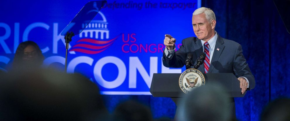 PHOTO: Vice President Mike Pence speaks during a campaign event for Pennsylvania congressional candidate Rick Saccone, at the Bethel Park Community Center on Feb. 2, 2018 in Bethel Park, Pa.