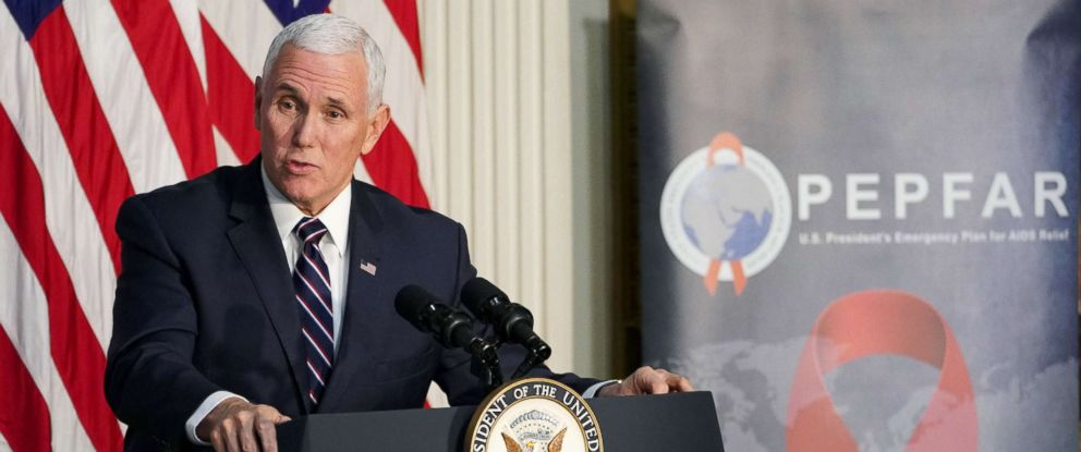 PHOTO: Vice President Mike Pence speaks during a White House World AIDS Day event in the Indian Treaty Room of the White House, Nov. 29, 2018.
