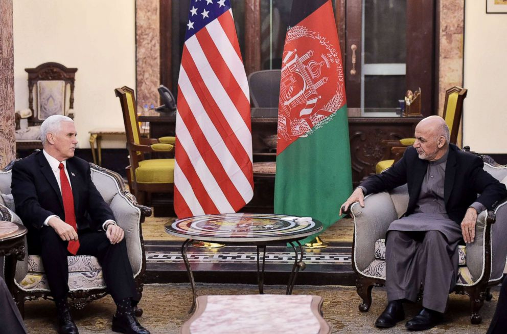 PHOTO: Vice President Mike Pence meets with Afghan President Ashraf Ghani at the Presidential Palace in Kabul, Dec. 21, 2017.