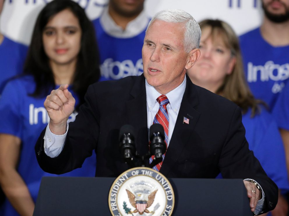 Vice President Mike Pence speaks during a Infosys economic development announcement, Thursday, April 26, 2018, in Indianapolis.