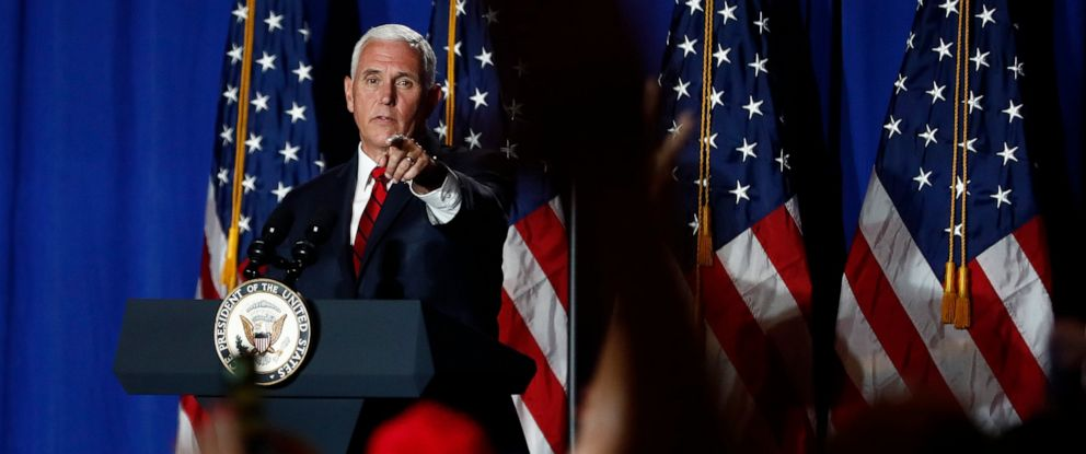 PHOTO: Vice President Mike Pence speaks during a rally on Tuesday, June 25, 2019 in Miami.
