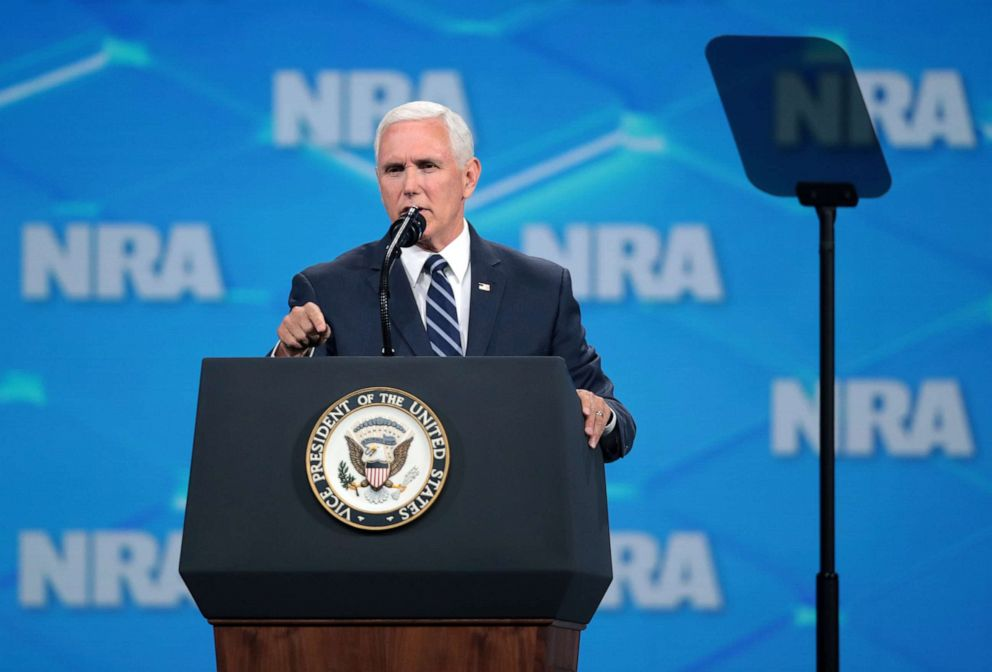 PHOTO: Vice President Mike Pence delivers remarks during the NRA-ILA Leadership Forum at the 148th NRA Annual Meetings & Exhibits, April 26, 2019, in Indianapolis, Indiana.