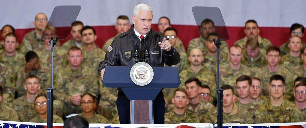 PHOTO: Vice President Mike Pence speaks to troops in a hangar at Bagram Air Field in Afghanistan, Dec. 21, 2017.