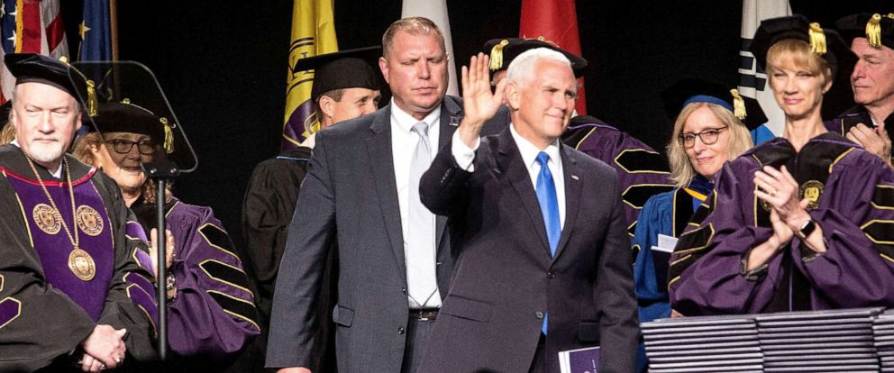 PHOTO: Vice President Mike Pence takes the stage at Taylor Universitys commencement ceremony on May 18 2019, at the University.