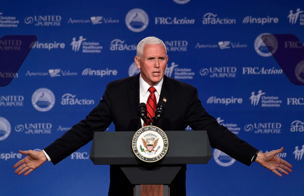 PHOTO: Vice President Mike Pence speaks at the 2018 Values Voter Summit in Washington, Sept. 22, 2018.