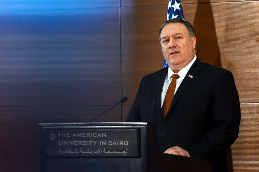 PHOTO: Secretary of State Mike Pompeo speaks to students at the American University Cairo, in the eastern suburb of New Cairo, Egypt, Jan. 10, 2019.