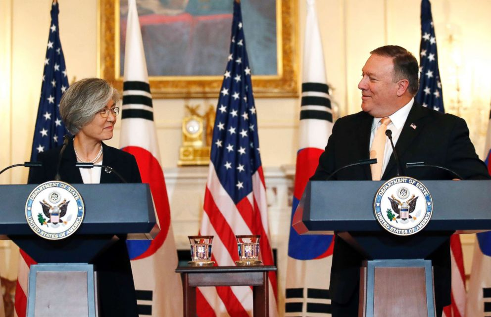 PHOTO: Secretary of State Mike Pompeo speaks during a media availability with South Korean Foreign Minister Kang Kyung-wha at the State Department on May 11, 2018, in Washington.