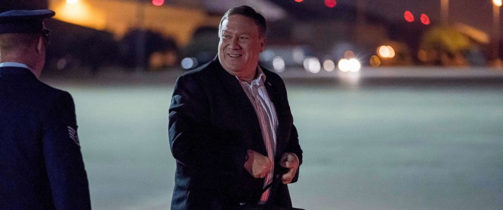 PHOTO: U.S. Secretary of State Mike Pompeo boards his plane at Andrews Air Force Base, Md., July 5, 2018, to travel to Anchorage, Alaska on his way to Pyongyang, North Korea.
