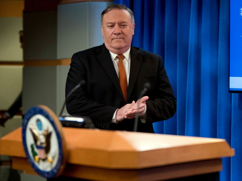 PHOTO: Secretary of State Mike Pompeo arrives to speak at a news conference in the press briefing room at the State Department in Washington, Friday, Sept. 14, 2018, in Washington