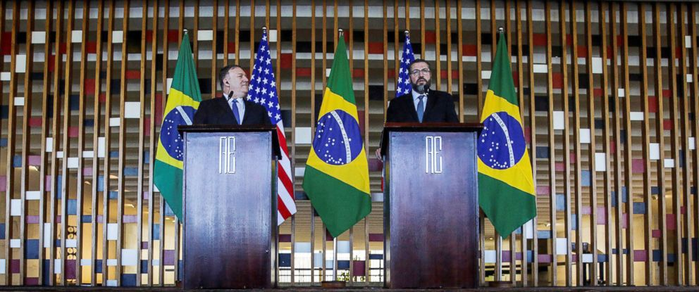 PHOTO: Secretary of State Mike Pompeo and his Brazilian counterpart Ernesto Araujo address a joint press conference in Brasilia, Brazil, Jan. 2 2019.