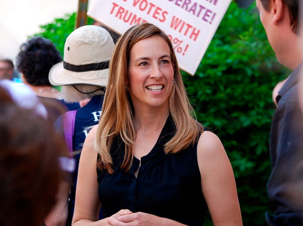 PHOTO: Mikie Sherrill joins protesters with NJ 11th for Change outside of Rep. Rodney Frelinghuysens office in Morristown, N.J., May 19, 2017.