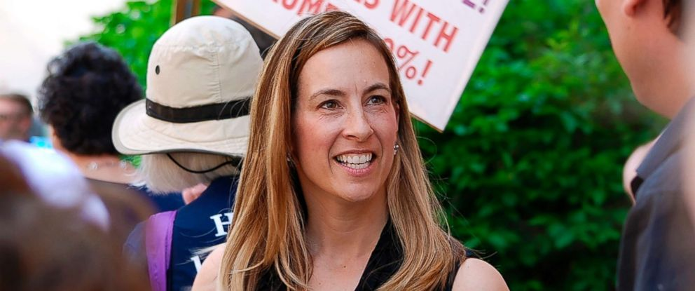 PHOTO: Mikie Sherrill joins protesters outside of Rep. Rodney Frelinghuysens office in Morristown, N.J., May 19, 2017.