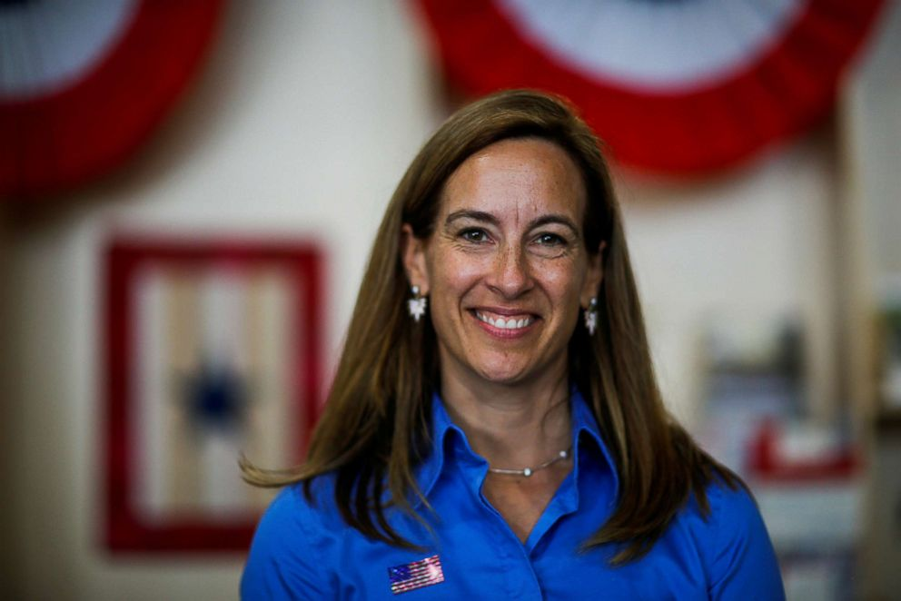 PHOTO: Democratic congressional candidate Mikie Sherrill poses for a picture as she campaigns during the New Jersey State Fair in Augusta, N.J., Aug. 12, 2018.
