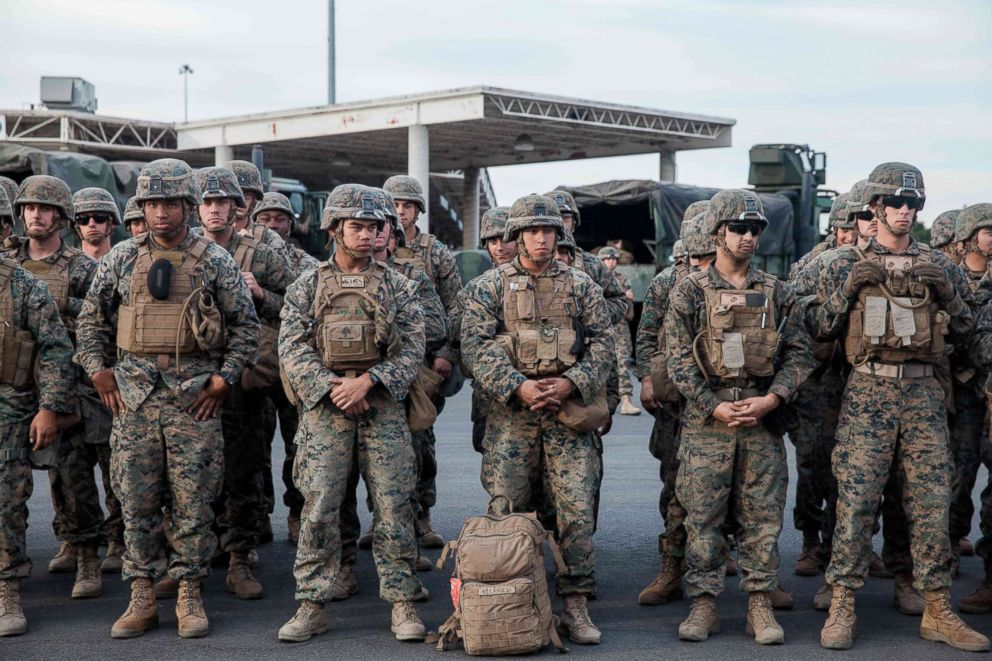 PHOTO: U.S. Military stand in line for a drill near the Otay Mesa Port of Entry, Calif., on Nov. 15, 2018.