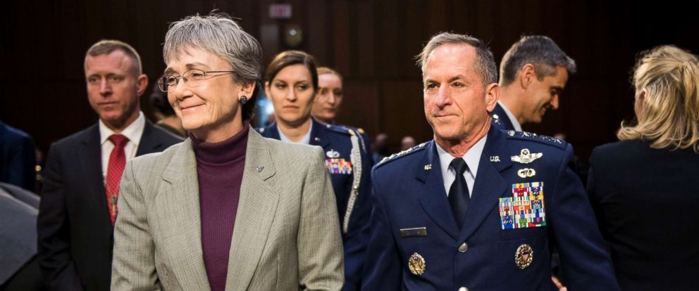 PHOTO: Secretary of the United States Air Force Heather Wilson and Chief of Staff of the Air Force Gen. David Goldfein prepare to testify during the Senate Armed Services Committee hearing on military housing, March 7, 2019.