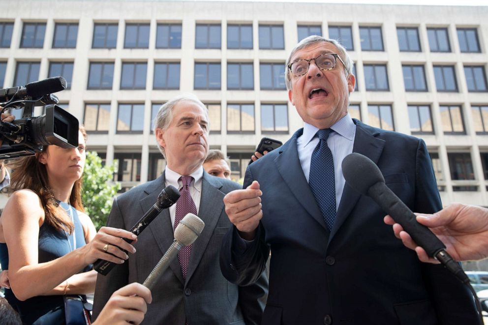 PHOTO: Paul Kamenar, attorney for Andrew Miller talks to reporters at the District Court in Washington D.C., Aug. 10, 2018.