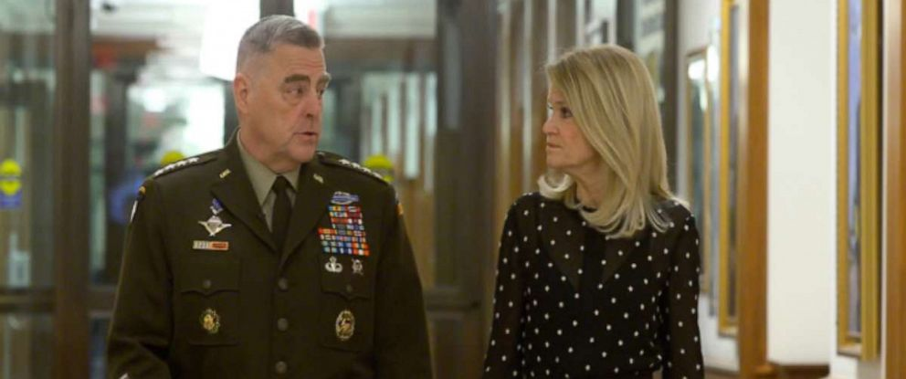 "PHOTO: Chairman of the Joint Chiefs of Staff Gen. Mark Milley and ""This Week"" Co-anchor Martha Raddatz during their interview on ""This Week."""