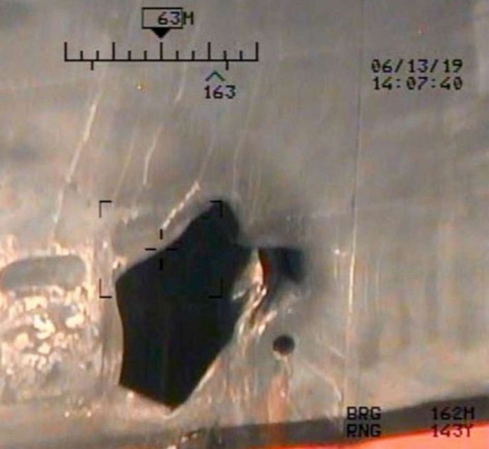 PHOTO: This photo is a view of hull penetration/blast damage sustained from a limpet mine attack on the starboard side of motor vessel M/T Kokuka Courageous, while operating in the Gulf of Oman, June 13.