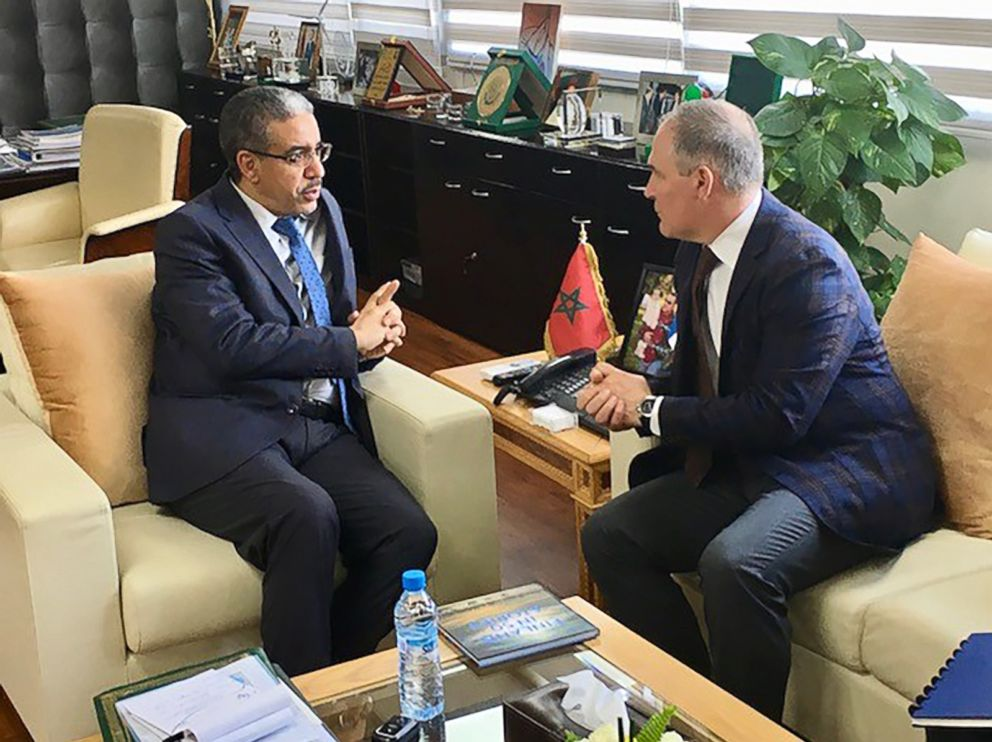 PHOTO: EPA Administrator Scott Pruitt, right, meets with Moroccan Minister of Energy, Mines and Sustainable Development, Aziz Rabbah during a trip to Morocco in December of 2017.