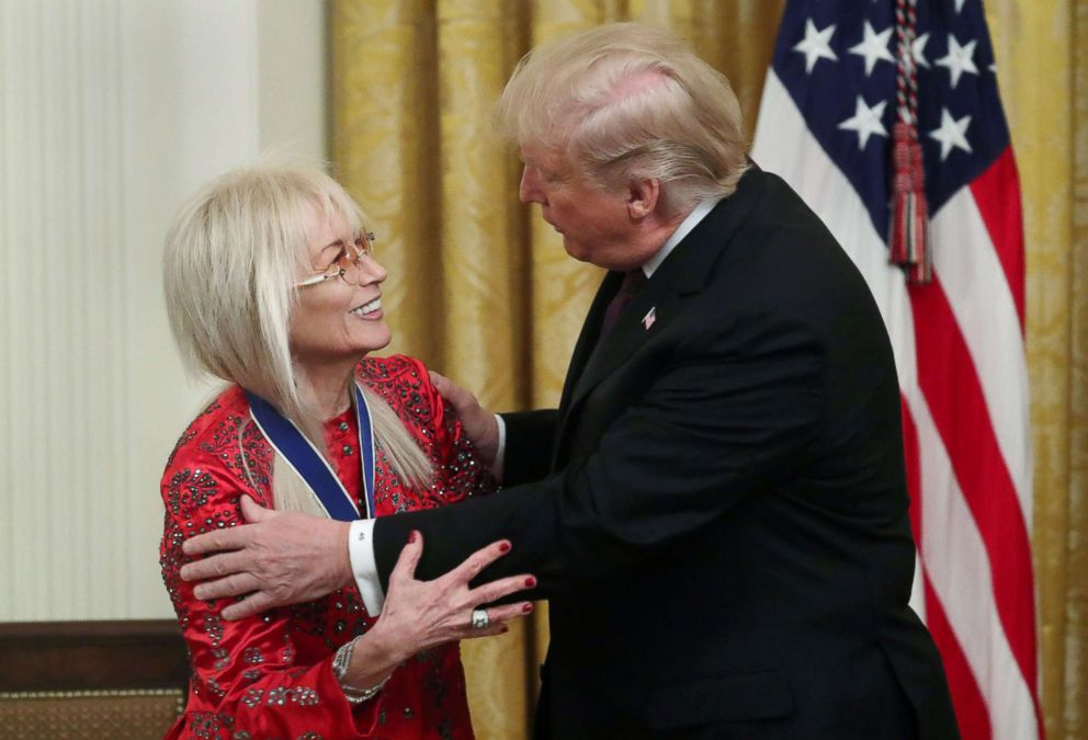 PHOTO: Miriam Adelson is awarded a Presidential Medal of Freedom by President Donald Trump in the East Room of the White House, Nov. 16, 2018.