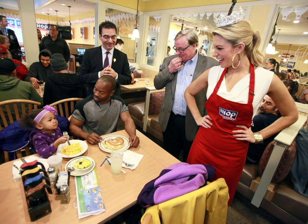 PHOTO: Miss America 2013 Mallory Hagan celebrates National Pancake Day at IHOP, Feb. 5, 2013, in Hollywood, Calif.