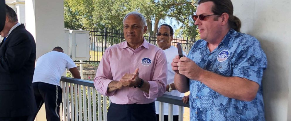 PHOTO: U.S. Senate candidate Mike Espy attends a campaign rally in Biloxi, Miss., Oct. 27, 2018.