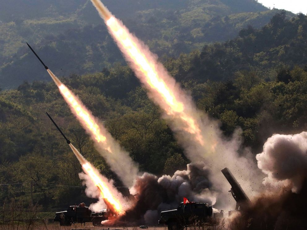 PHOTO: This May 9, 2019 picture released from North Koreas official Korean Central News Agency (KCNA) on May 10, 2019 shows rocket launchers firing during the strike drill in on the western front of North Korea.