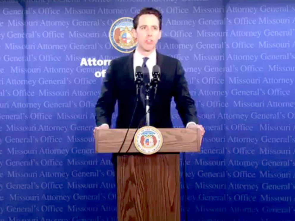 PHOTO: Missouri Attorney General Josh Hawley speaks at a press conference, April 17, 2018, in Jefferson City, Mo.