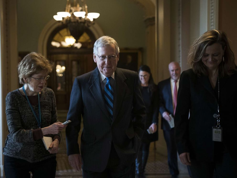 PHOTO: Senate Majority Leader Mitch McConnell (R-KY) leaves the Senate floor and walks to his office on Capitol Hill, Jan. 21, 2018. Lawmakers are convening for a Sunday session to try to resolve the government shutdown.
