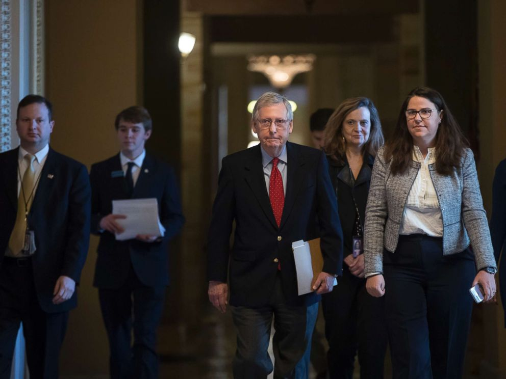 PHOTO: Senate Majority Leader Mitch McConnell walks to the chamber on the first morning of a government shutdown after a divided Senate rejected a funding measure last night, at the Capitol in Washington, D.C., Jan. 20, 2018.