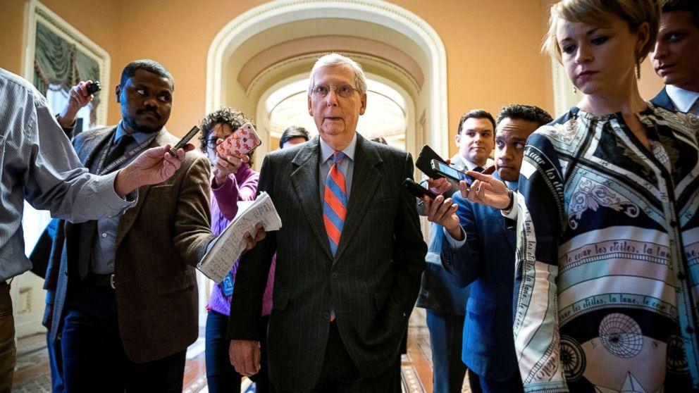 Republican Senate Majority Leader Mitch McConnell leaves the Senate floor after the vote on a budget bill that could avert a government shutdown at the US Capitol in Washington, Feb. 14, 2019.